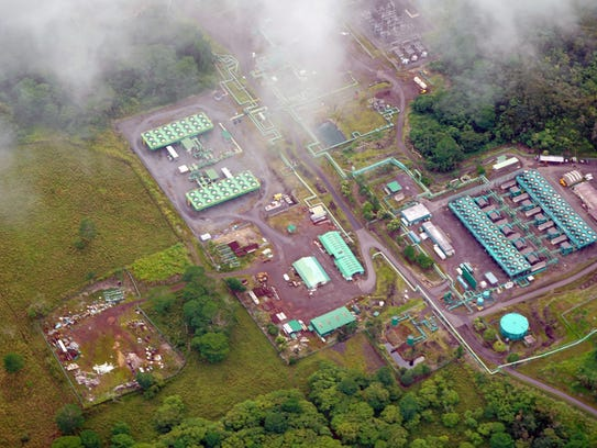 The Puna Geothermal Venture power plant sits in the jungle near the lava flows running through the Leilani Estates neighborhood.