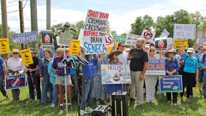 Hundreds of protesters gathered in August to protest gas storage expansion plans at Seneca Lake.