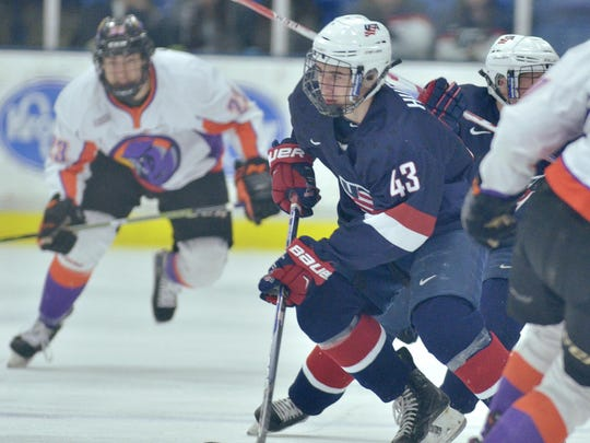 Carrying the puck up the ice Friday night for the NTDP