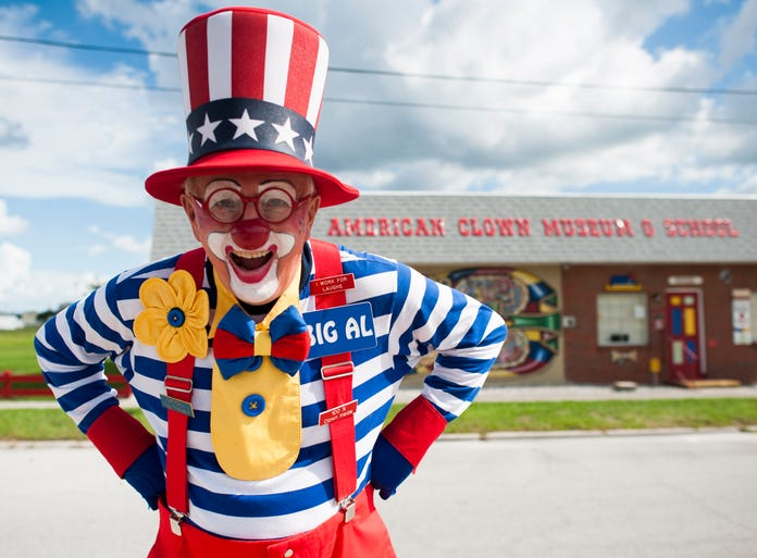 """Albin """"Big Al"""" Pelski, the foundation's president, in front of Toby the Clown Foundation, Inc. American Clown Museum & School in Lake Placid, Fla. Over 2,500 clowns have graduated from the school since 1993."""