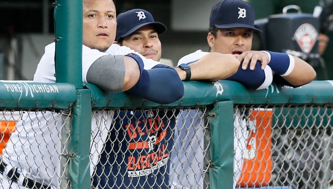 (From left) Miguel Cabrera, Anibal Sanchez and Victor Martinez.