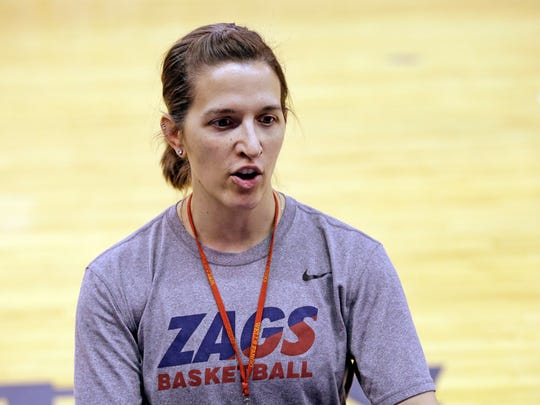Gonzaga head coach Lisa Fortier talks at a practice a day before the team's first round NCAA tournament college basketball game Friday, March 17, 2017, in Seattle. Gonzaga plays Oklahoma on Saturday. (AP Photo/Elaine Thompson)
