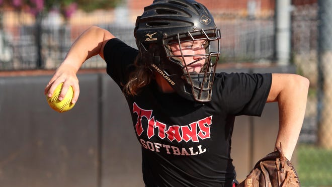 North Oconee catcher Cameron Harkey during practice on Saturday, August 1, 2020