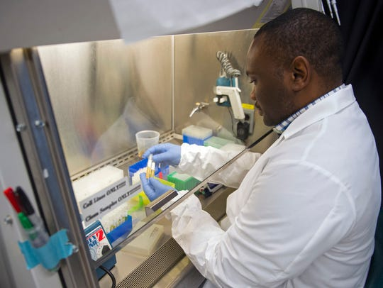Biologist Olivier Mbaya works with serum samples from