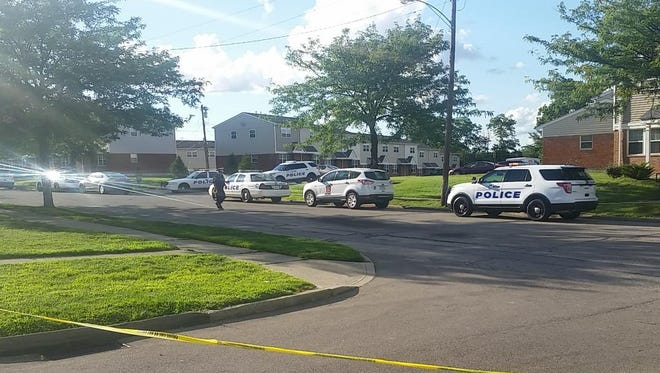 Police respond to a shooting in the 2300 block of Nottingham Road.
