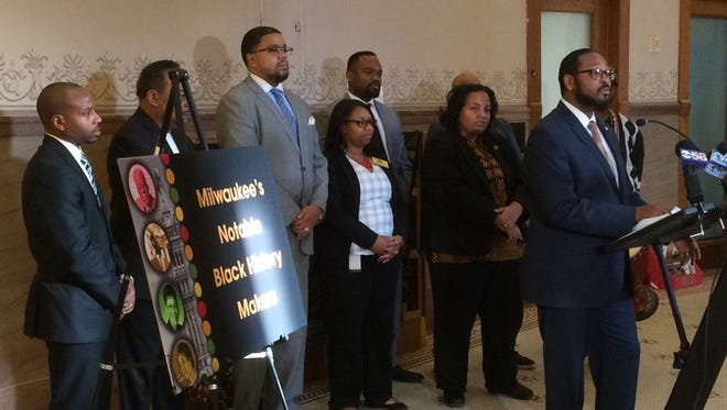 Common Council President Ashanti Hamilton speaks during a news conference about local efforts to mark Black History Month.