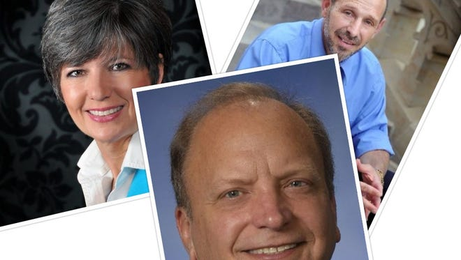This collage of provided photos shows, clockwise from left, Kelly Rossman-McKinney, Mike Callton and John Bizon, some of the biggest fundraisers among those running for Lansing-area legislative seats.