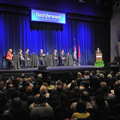 Candidates participate in the Tennessean's mayoral debate at Massey Performing Arts Center on the Belmont campus on Thursday.