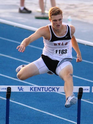 Ryle senior Matt Froschauer runs in the 300 hurdles at state May 28. He won the 110 hurdles earlier in the day.