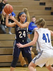 Lebanon Catholic's Jasmine Turner looks to pass inside