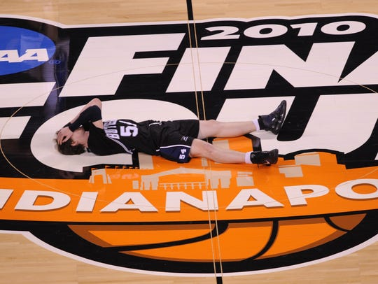 Butler forward Matt Howard (54) lies on the Final Four