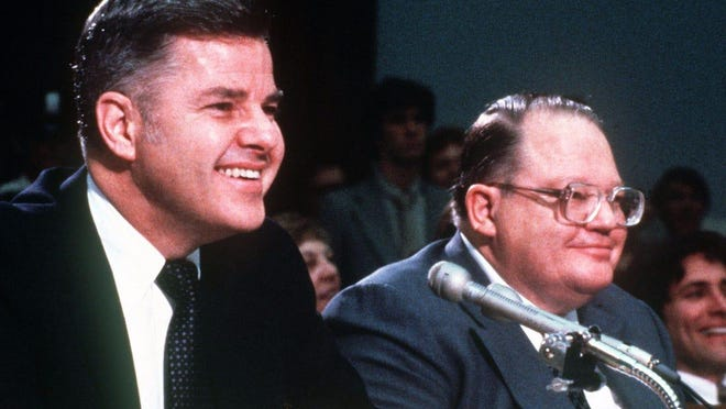 Herbert (left) and Bunker Hunt, two of the wealthiest men ever tried for a crime in the US, were acquitted of wiretapping by a Lubbock jury in 1975.
