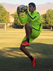 Uriel Lopez practices at the Hovley Soccer Park in