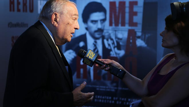"Former Yonkers Mayor Angelo Martinelli is interviewed along the ""red carpet"" during the Yonkers premier showing of the HBO miniseries, ""Show Me a Hero"" at the Alamo Drafthouse Cinema in Yonkers, Aug. 12, 2015. The series examines the real-life drama of Yonkers' battle against court-ordered housing desegregation through the eyes of former Yonkers Mayor Nicholas Wasicsko."