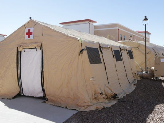 """MARK LAMBIEÑEL PASO TIMES  The medical tent and chow tent at east Bliss. """