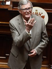 "FILE - In this Wednesday, April 3, 2013 file photo, author Earl Hamner Jr. blows a kiss to relatives in the gallery as he is honored by the Virginia Senate at the state capitol in Richmond, Va. On Thursday, March 24, 2016, Hamner, who created ""The Waltons"" television show, died in Los Angeles at the age of 92, according to Ray Castro Jr., a friend who produced a documentary about the writer. (AP Photo/Richmond Times-Dispatch, Bob Brown)"