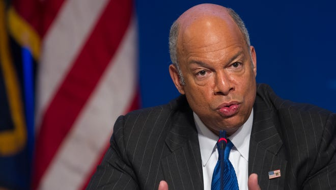Department of Homeland Security Secretary Jeh Johnson speaks about the agency's budget and cybersecurity at the Homeland Security and Public Safety Committee session during the  National Governors Association Winter Meeting in Washington, Sunday, Feb. 22, 2015. Several Republican governors are urging GOP congressional leaders to stand firm next week in opposing legislation funding the Department of Homeland Security if it doesn't also overturn President Barack Obama's executive action on immigration.