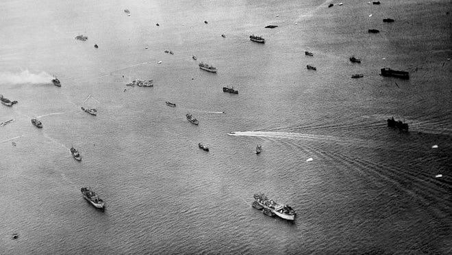 Aerial view of the Allied ships off the landing beaches of Normandy on June 13, 1944. (AP Photo) ORG XMIT: APHS402925 [Via MerlinFTP Drop]