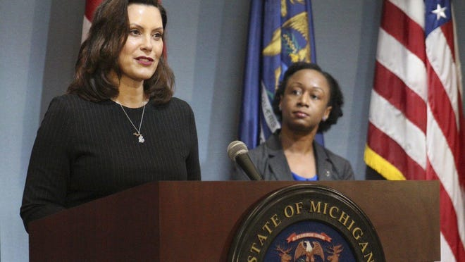 Gov. Gretchen Whitmer speaks during a coronavirus briefing on Wednesday, April 29, in Lansing. Whitmer signed an executive order Wednesday, Sept. 23 that aims at making Michigan a carbon-neutral state by 2050.