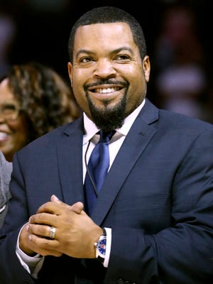 BIG3 basketball league founder Ice Cube smiles as he is introduced during Game 2 in the BIG3 Basketball League's debut.