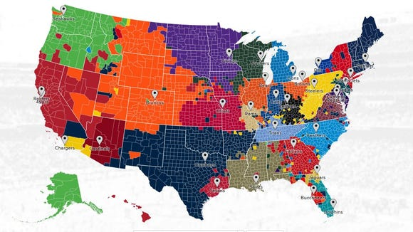NFL fans as mapped by Twitter followers of each team.