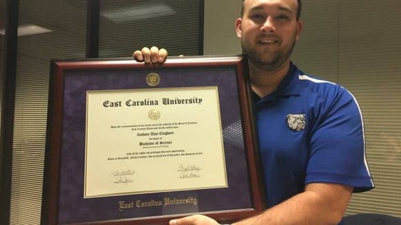 Zack Cleghorn with his diploma from East Carolina University. (Photo: provided by Zack Cleghorn)