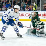 Toronto's Greg McKegg scores off a breakaway at 5:48 of the first period, beating goalie Darcy Kuemper