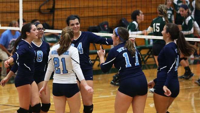 Volleyball action between Pleasantville and Westlake at Pleasantville High School Sept. 30, 2015.