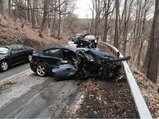 A sedan was heavily damaged when it collided with a welding truck along Route 35 in Wednesday afternoon.