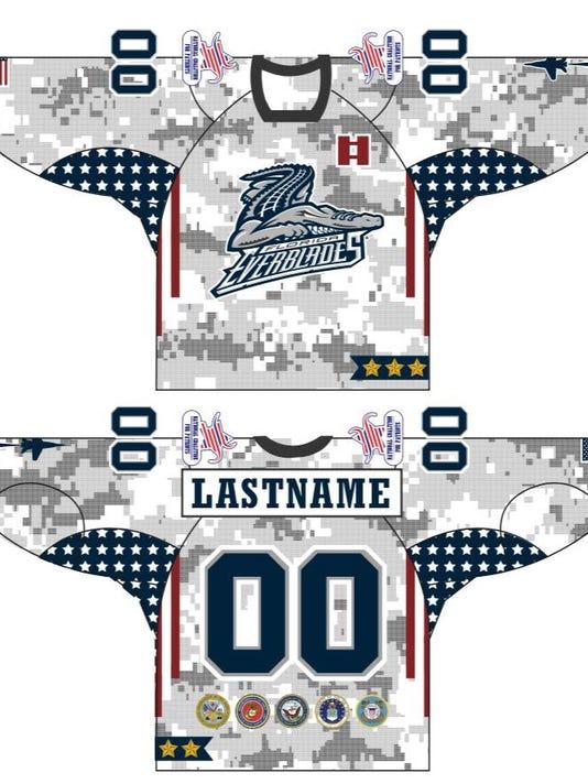 Blades military jerseys