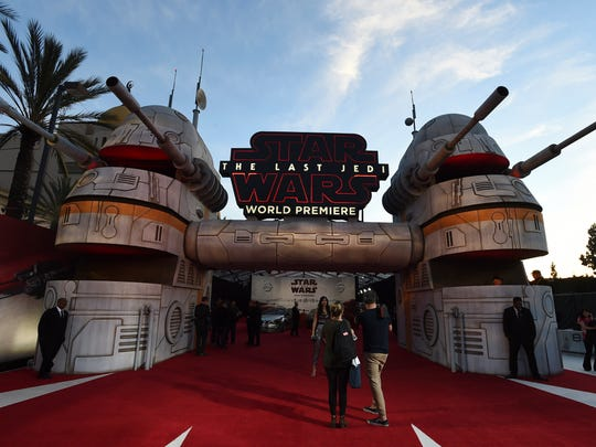 "A general view of atmosphere at the Los Angeles premiere of ""Star Wars: The Last Jedi"" at the Shrine Auditorium on Saturday, Dec. 9, 2017 in Los Angeles."