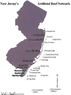 New Jersey Artificial Reef sites.