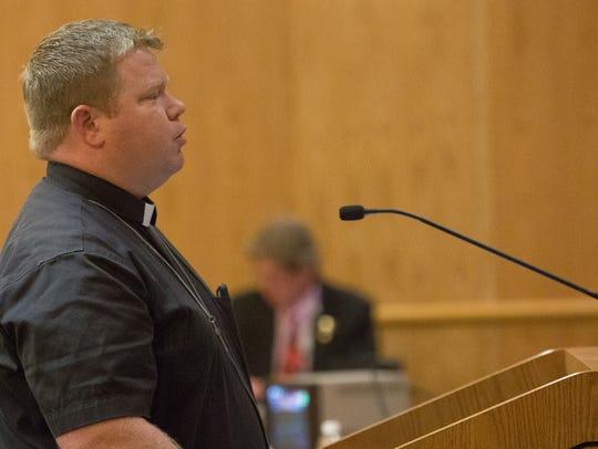 Pastor Jared Carson of Peace Lutheran, spoke in defense