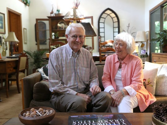 Fran Buhler, a retired associate pastor at First Baptist Church, has written a book called The Grief Letter, based on the many letters he wrote to parishioners who have experienced loss. Buhler sits with his wife of 55 years, Nancy, at their home on Wednesday, April 25, 2018.