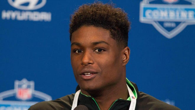 UCLA linebacker Myles Jack speaks to the media during the 2016 NFL Scouting Combine at Lucas Oil Stadium.