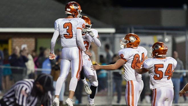 Central York quarterback Cade Pribula (3) celebrates his touchdown in the first half of a YAIAA football game Friday, Oct. 20, 2017, at Red Lion. Central York won 24-21, delivering Red Lion their first defeat of the season.