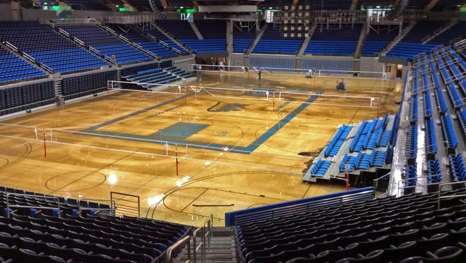 Water covers the playing floor of Pauley Pavilion, home of UCLA basketball, after a 30-inch water main burst on nearby Sunset Boulevard.