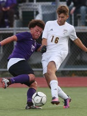 From left, New Rochelle's Jiovanny Almazon, left, and