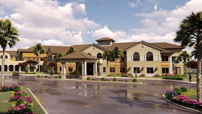 A rendering of a 140-unit assisted living facility proposed near the northeast corner of Corkscrew Road and Three Oaks Parkway in Estero.