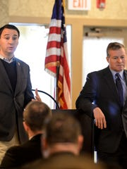 Congressmen Ryan Costello (left) and Charlie Dent (right), shown speaking to Lebanon's civic organizations at the Lebanon County Club on Wednesday, November 25, 2015, will run unopposed in the Primary Election.
