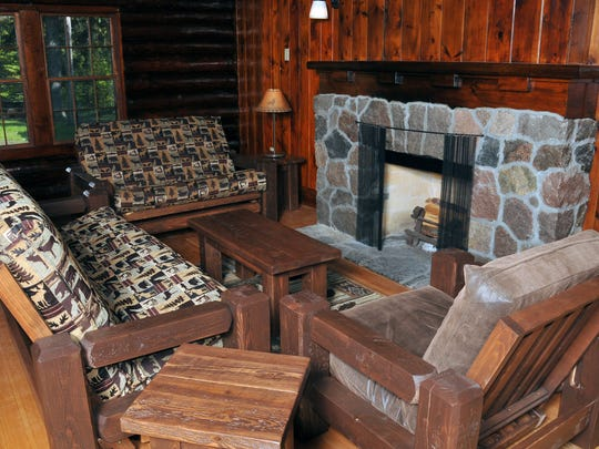 The fireplace room is one feature of the newest lodging available for rent this summer at Itasca State Park, a guesthouse that once served as a camp store in the Bear Paw Campground.