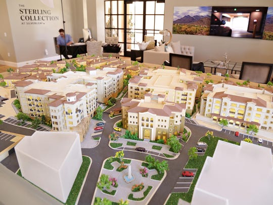 A scale model of the Sterling Collection at Silverleaf project near DC Ranch as seen in Scottsdale on May 18, 2015