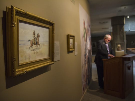 "A gift of $575,000 from an anonymous donor enabled the C.M. Russell Museum to purchase two new watercolor paintings by Charles M. Russell. The larger painting, ""Cowboy on a Bay Horse,"" depicts an unidentified range rider and was painted circa 1895. The small painting was created circa 1902 and is titled ""An Indian War Party."""
