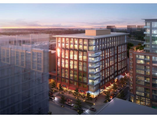 A rendering of the pair of buildings planned for five acres at 11th Avenue North and Nelson Merry Street.