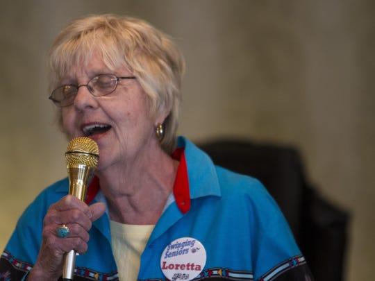 """Loretta Riley sings """"Sioux City Sue"""" at Highgate Senior"""