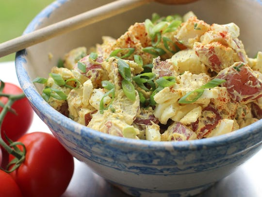 Creamy deviled egg potato salad.