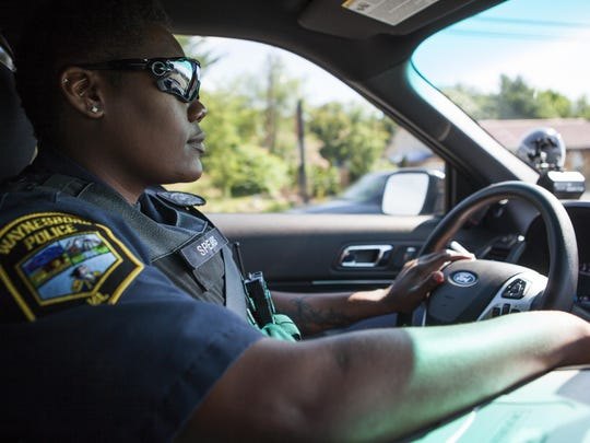 Waynesboro police officer Shamica Spears rides in her patrol vehicle on Wednesday, June 24, 2015. For the third year in a row Spears has been recognized for leading the department in catching speeders.