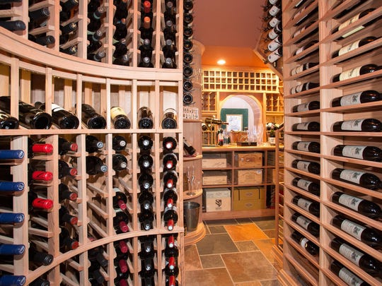 The climate-controlled wine room at this Lavallette mansion.
