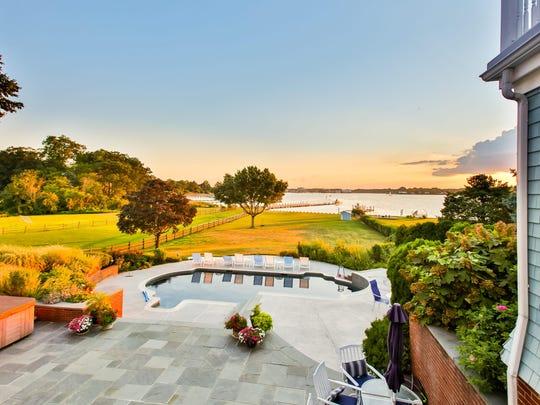 This Fair Haven mansion has panoramic waterfront views.