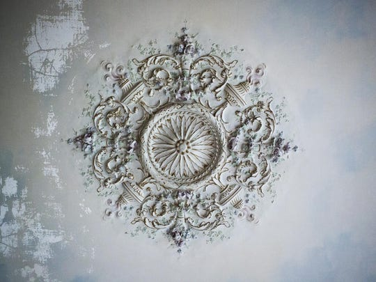 An intricately designed ceiling piece is on display inside Swannanoa on Sept. 10, 2015.